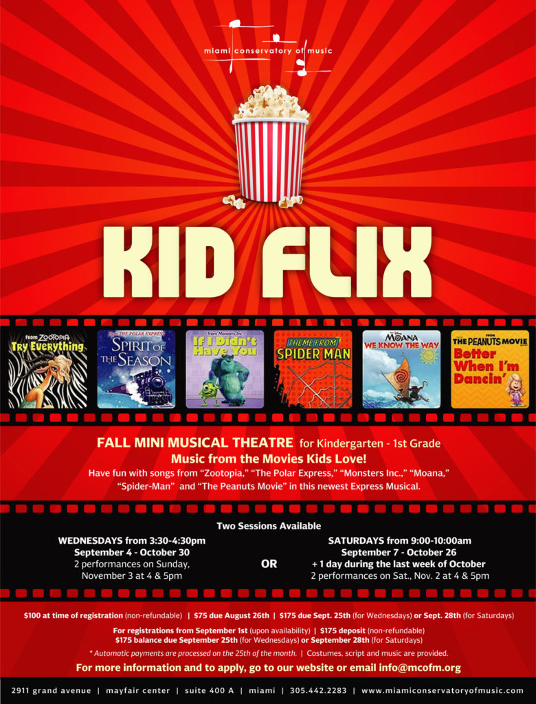 Kid Flix Mini Musical Theatre Flyer