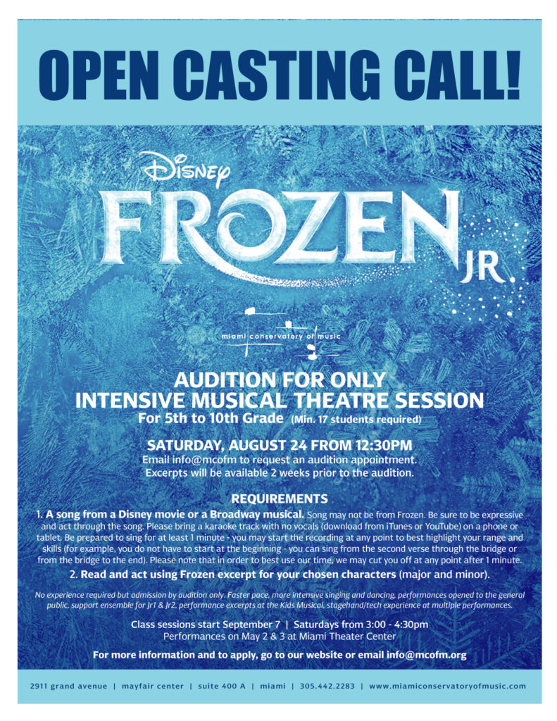 Frozen Jr  | Musical Theatre | REGISTRATION NOW OPEN! – Miami